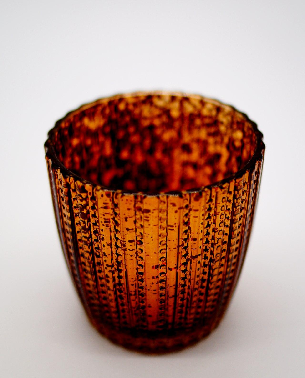 Tealight Glass Metallic Brown stripes