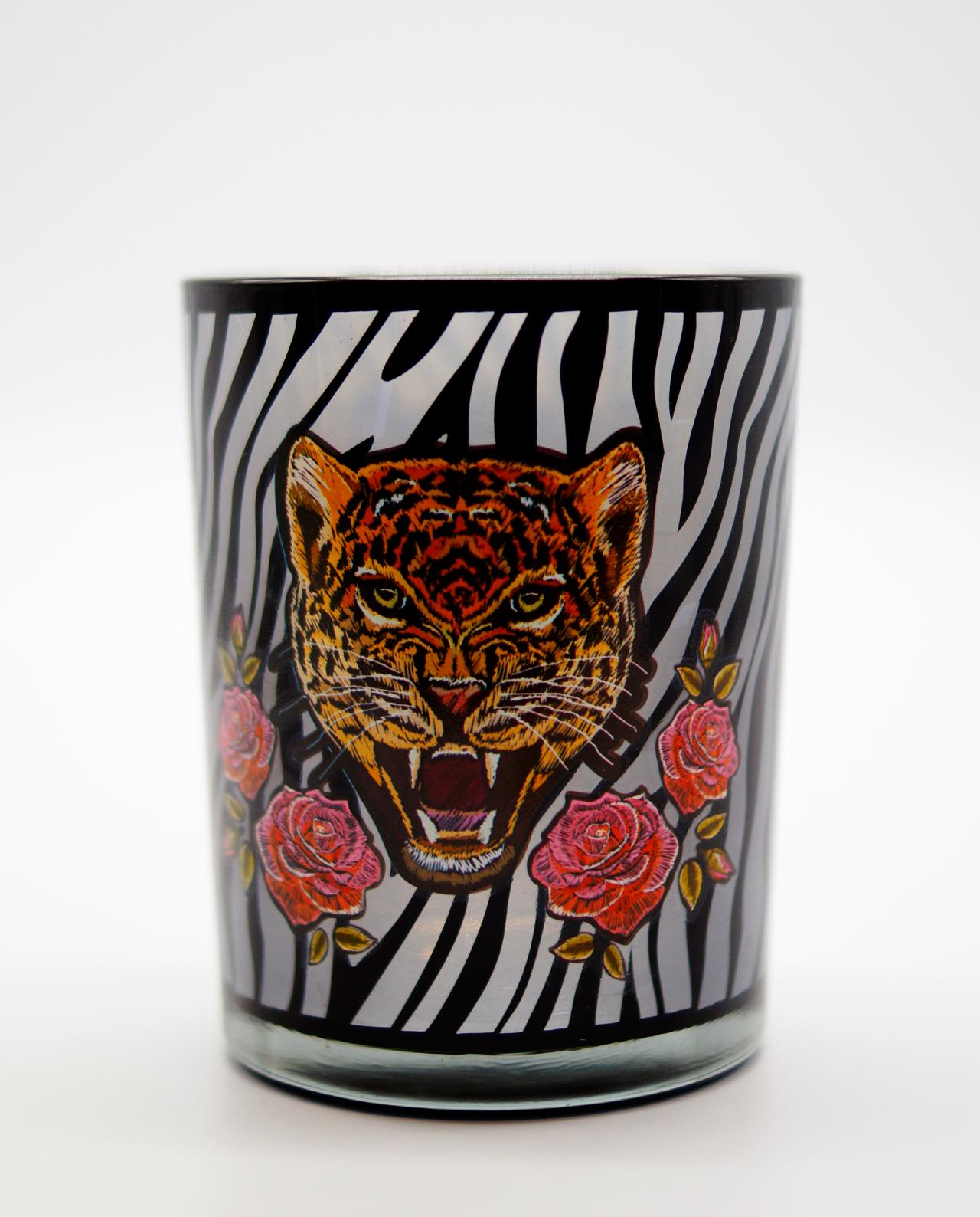 Tealight Glass With Leopard Head