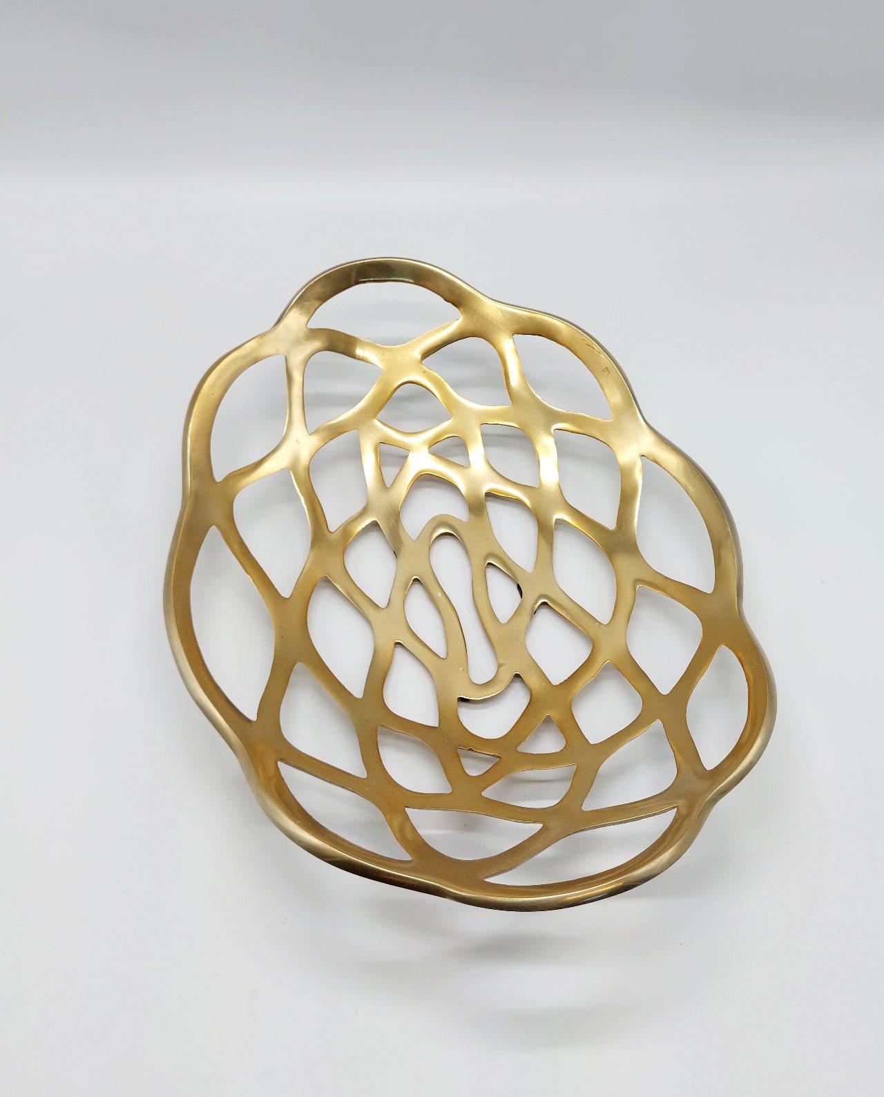 Platter Aluminum Gold Oval 50 cm
