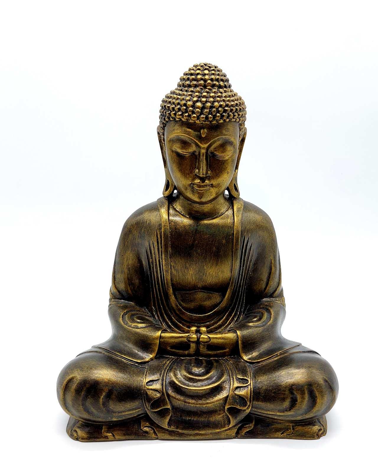 Buddha Resin height 30cm gold antique