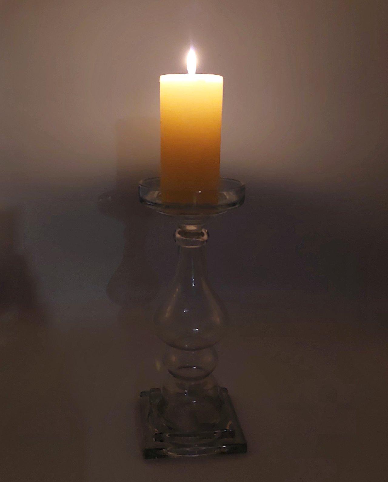 Candleholder Clear Glass Height 32 cm