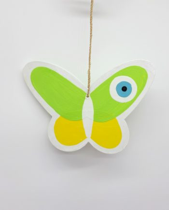 Butterfly Εvil Εye Wooden Handmade color lime and yellow
