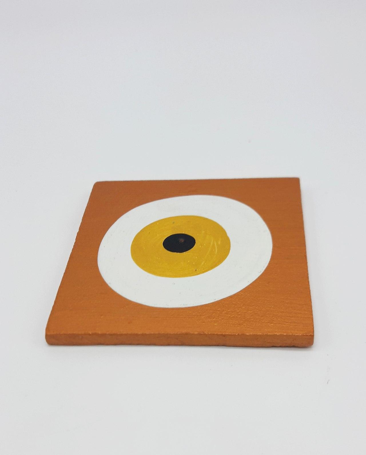 Σουβέρ Ματάκι Ξύλινο Χειροποίητο 9.5 cm x 9.5 cm χρώμα μπρονζε