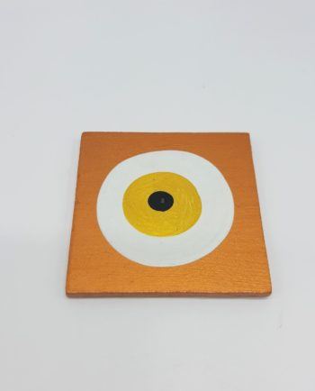 Coaster Evil Eye Wooden Handmade 9.5 cm x 9.5 cm color bronze