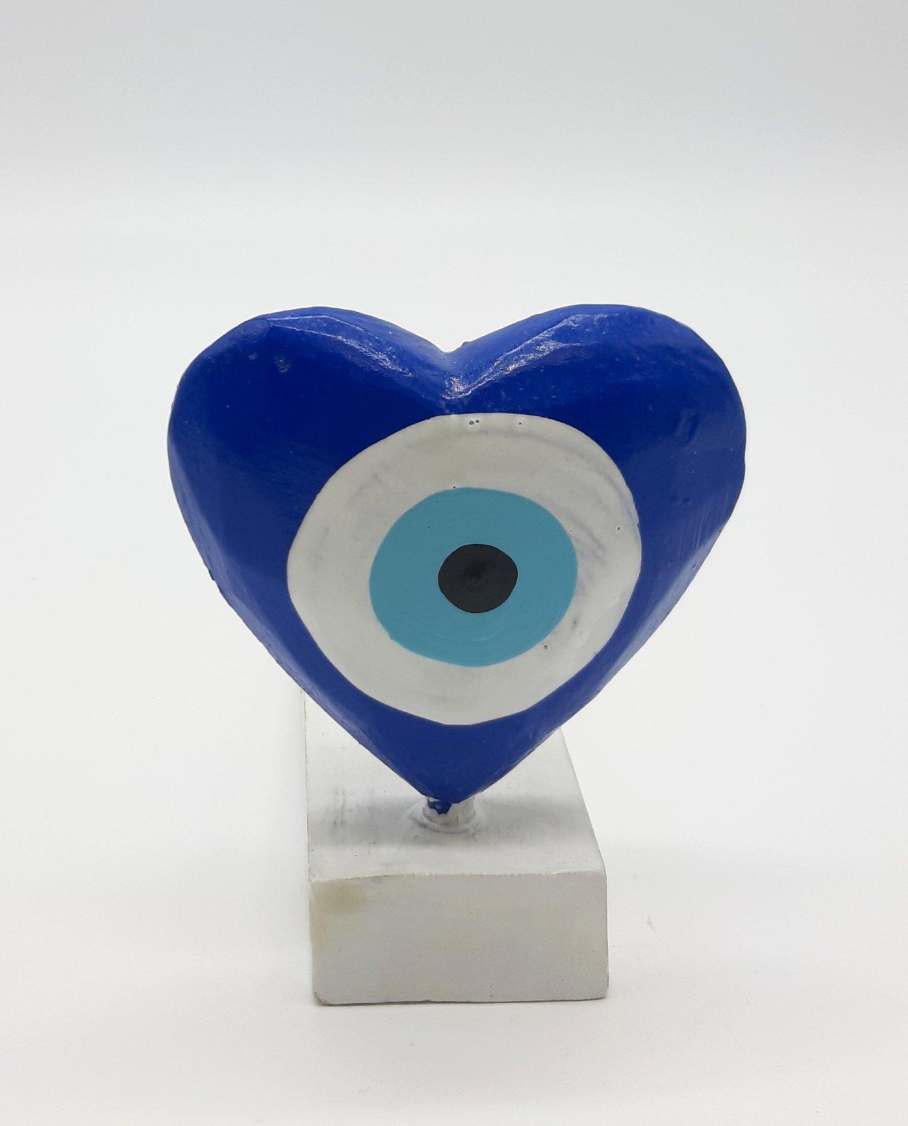 Σφήνα Πόρτας Χειροποίητη Ξύλινη Καρδιά Ματάκι χρώμα μπλε