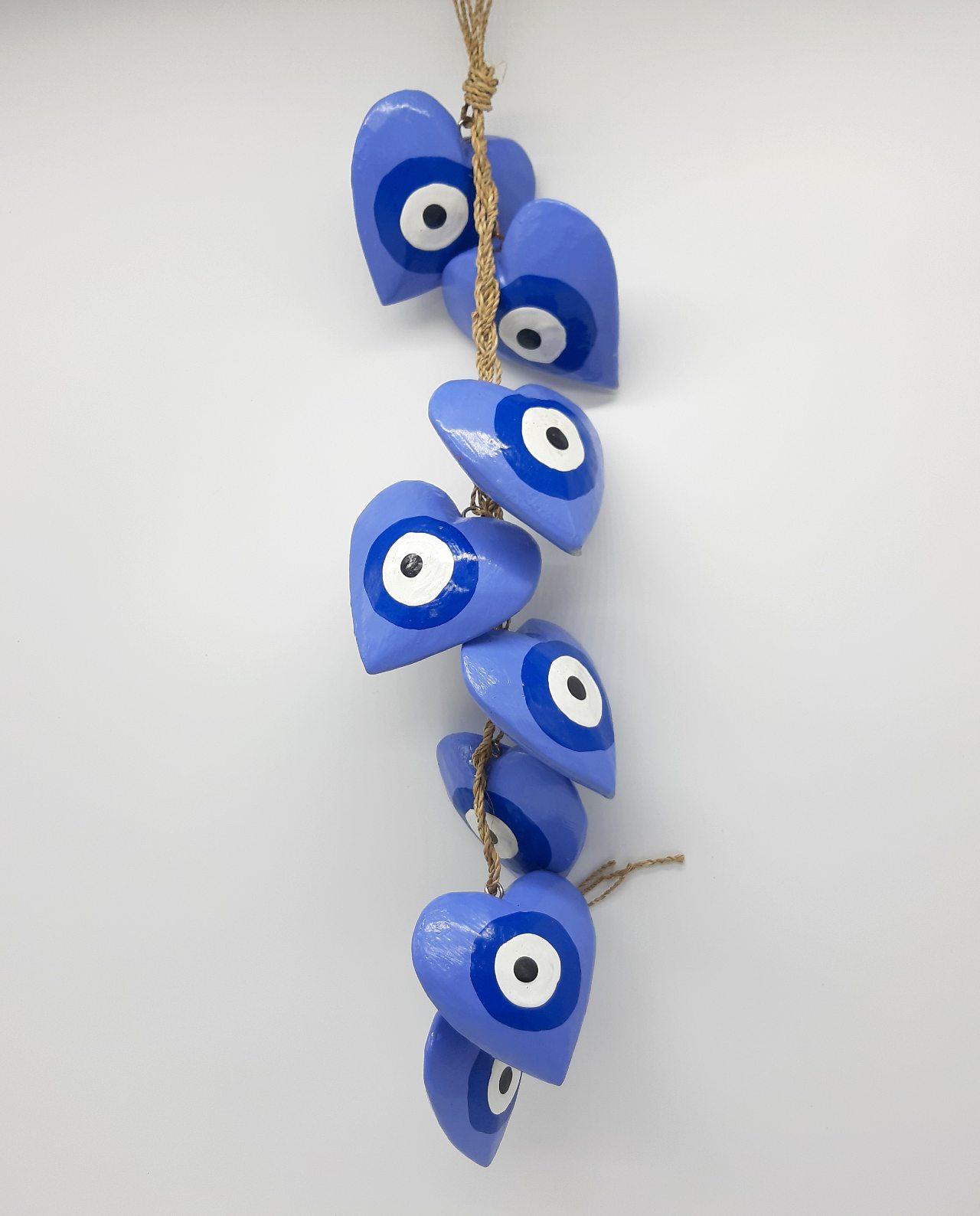 Γιρλάντα 8 καρδιές ματάκι χειροποίητες ξύλινες, μήκος 50 cm χρώμα λουλακί