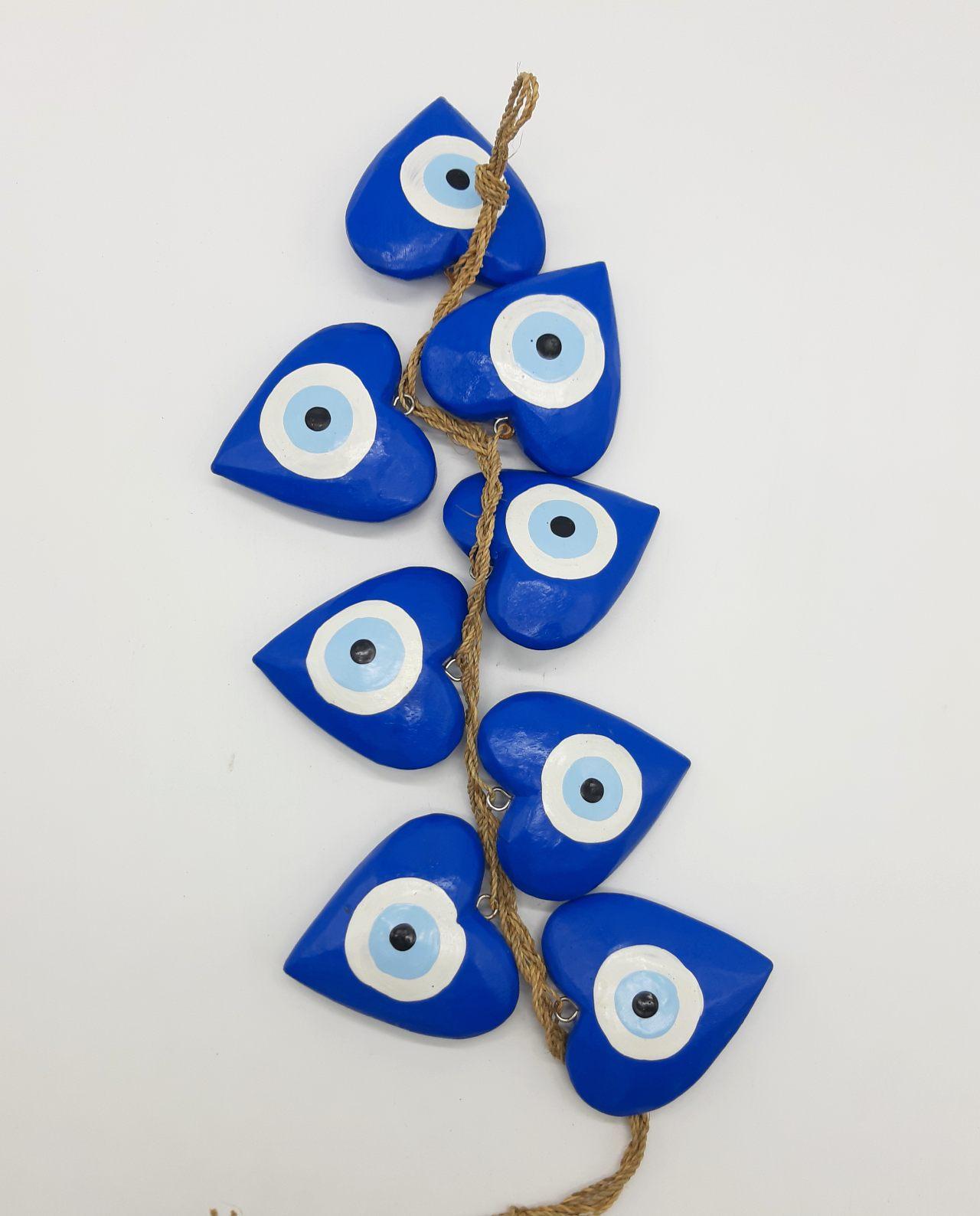Γιρλάντα 8 καρδιές ματάκι χειροποίητες ξύλινες, μήκος 50 cm χρώμα μπλε