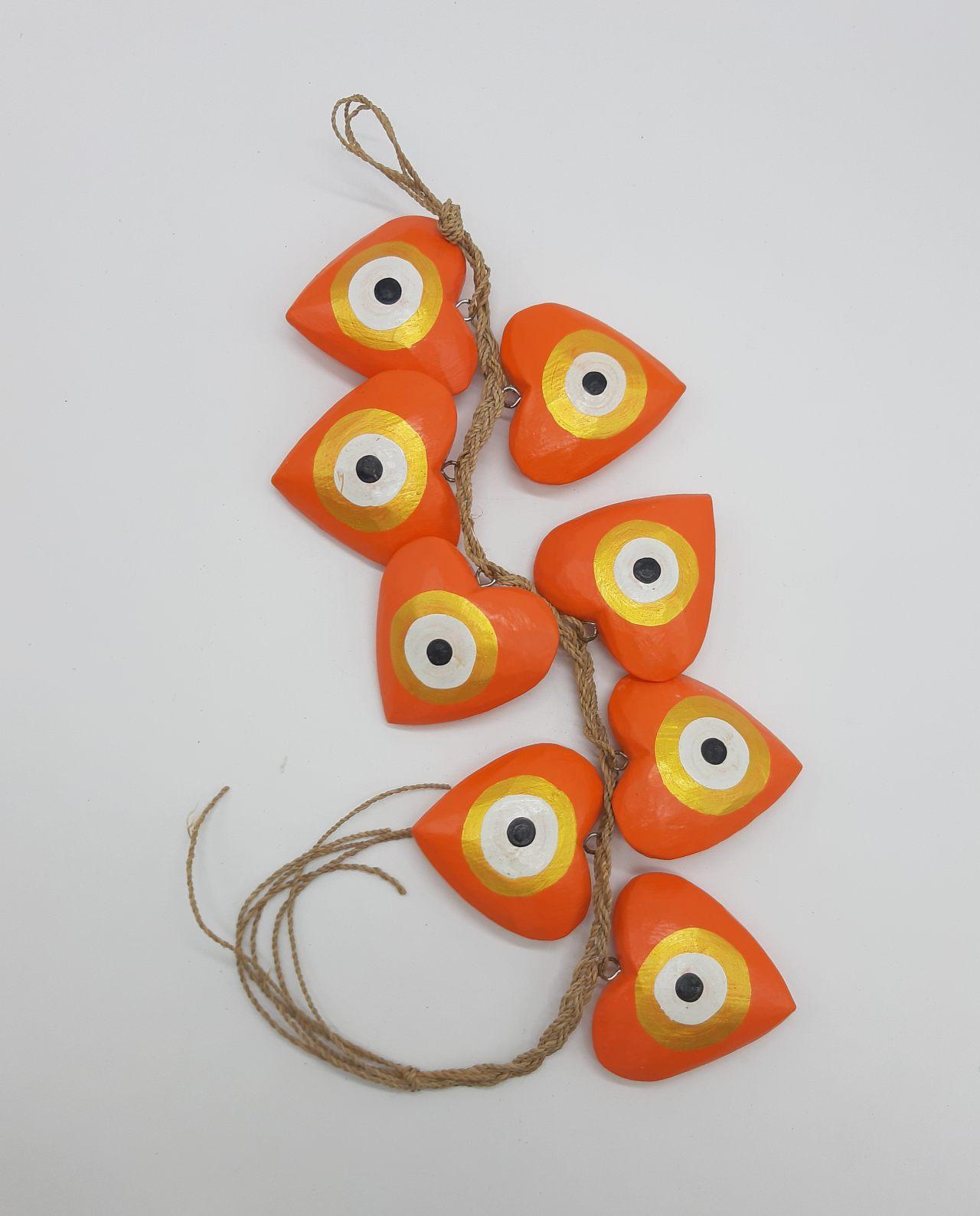 Γιρλάντα 8 καρδιές ματάκι χειροποίητες ξύλινες, μήκος 50 cm χρώμα πορτοκαλί χρυσό