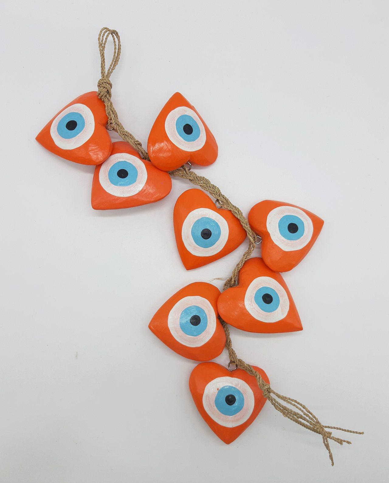 Γιρλάντα 8 καρδιές ματάκι χειροποίητες ξύλινες, μήκος 50 cm χρώμα πορτοκαλί