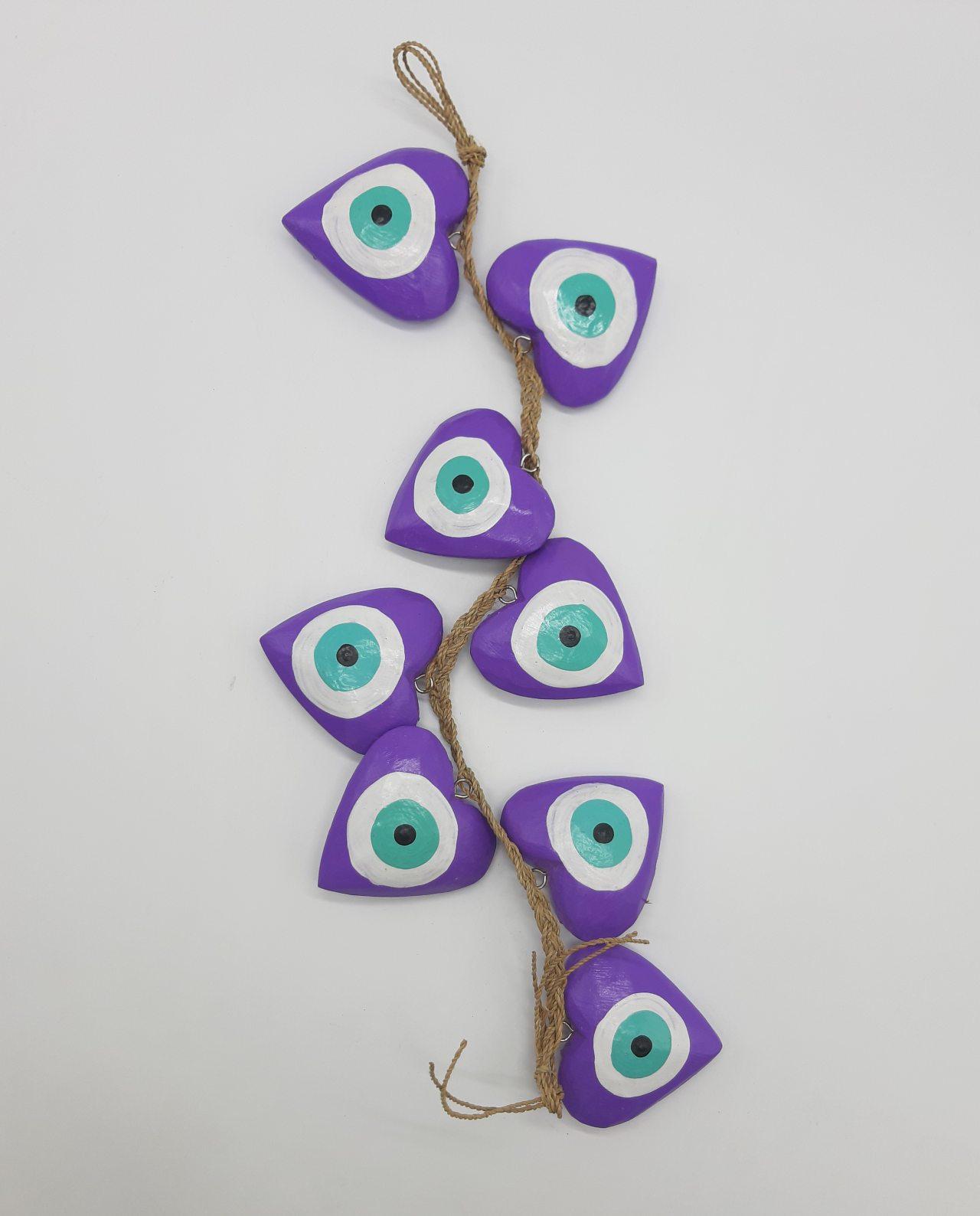 Γιρλάντα 8 καρδιές ματάκι χειροποίητες ξύλινες, μήκος 50 cm χρώμα μωβ