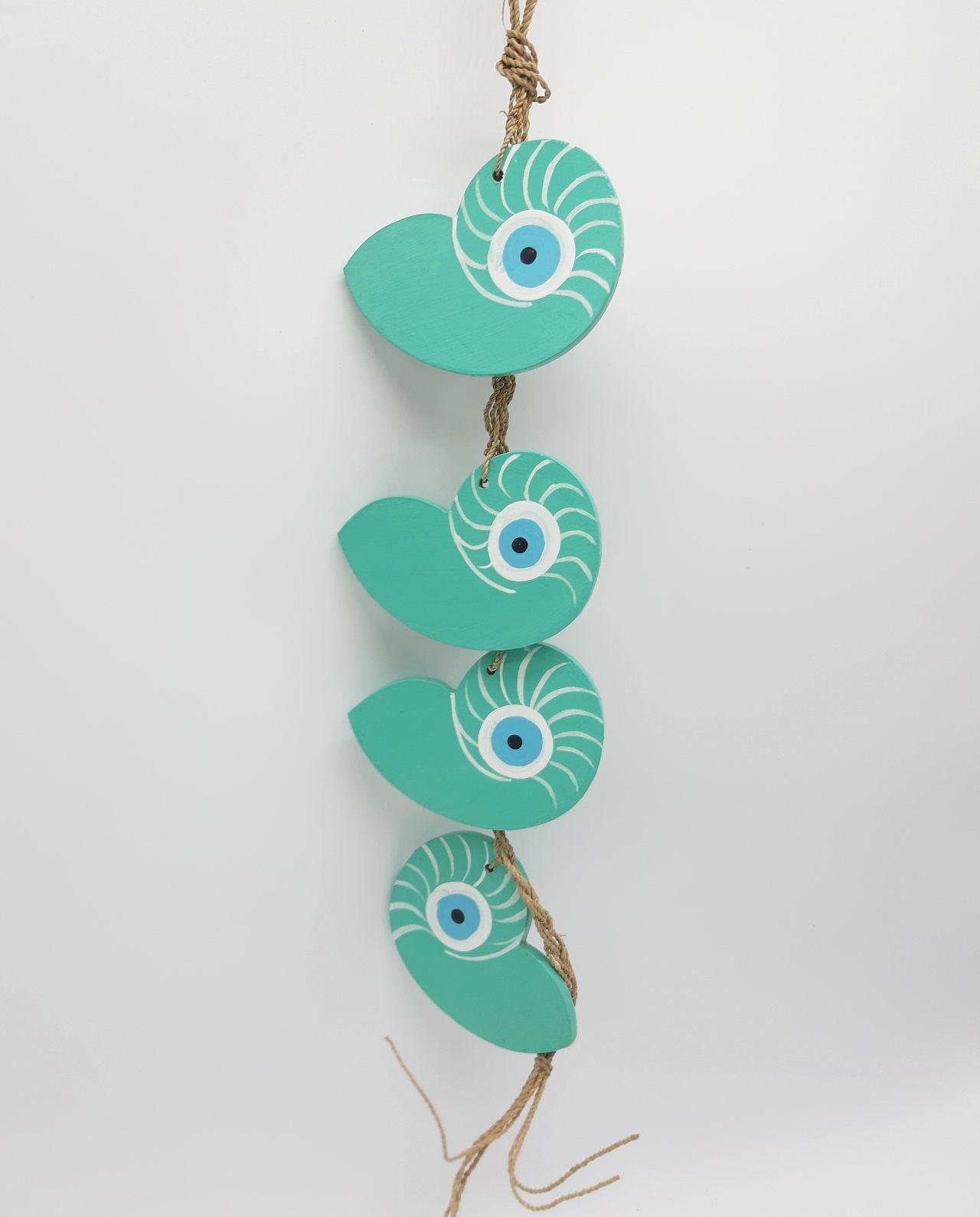 Γιρλάντα 4 Κοχύλια Ναυτίλος Ματάκι Ξύλινα Χειροποίητα χρώμα τυρκουαζ