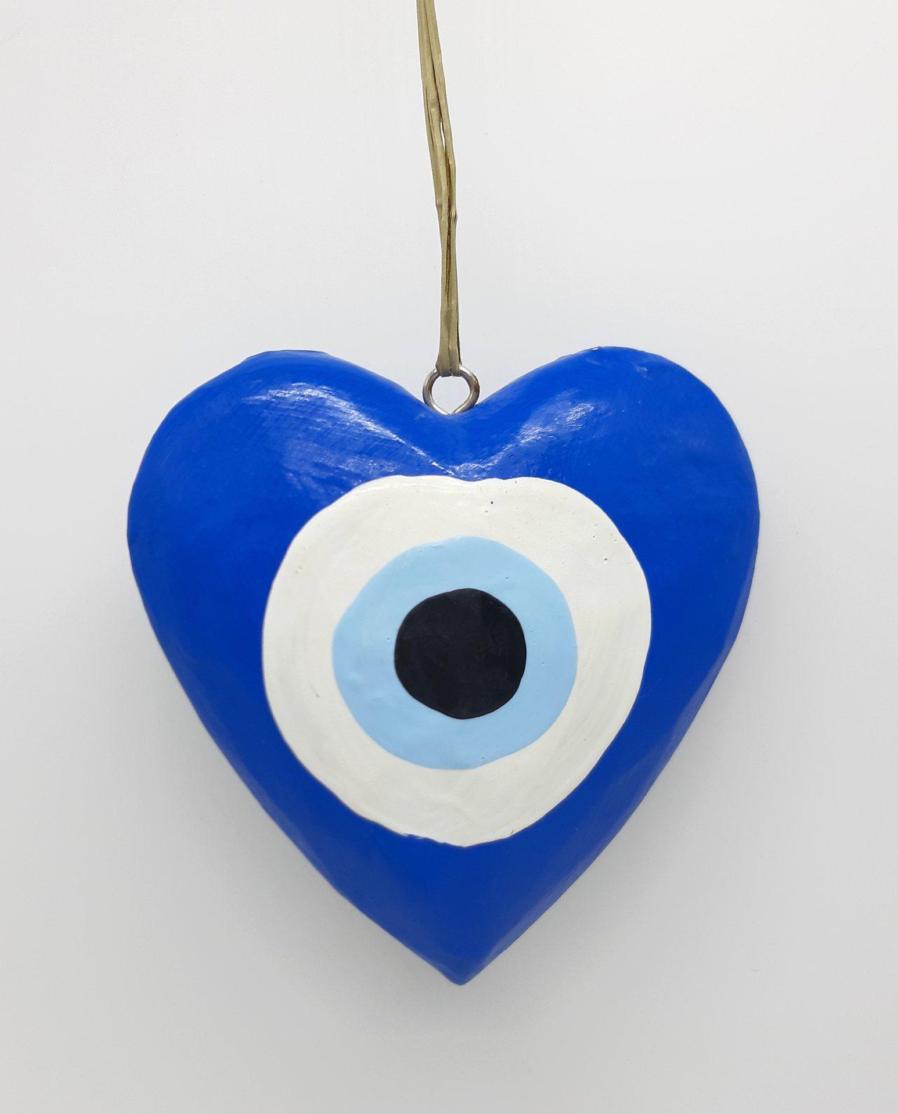 Καρδιά Ματάκι Ξύλινη Χειροποίητη Διαμέτρου 10 cm