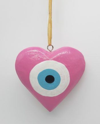 Heart Evil Eye Wooden Handmade Diameter 10 cm color pink