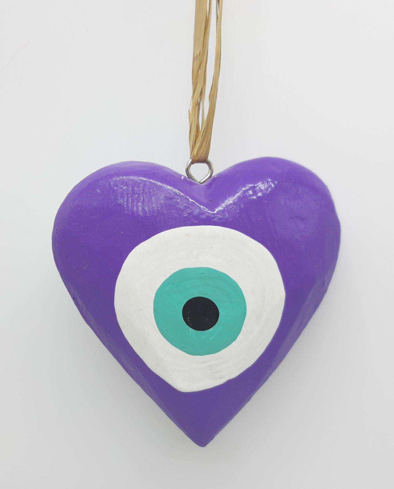 Καρδιά Ματάκι Ξύλινη Χειροποίητη Διαμέτρου 10 cm χρώμα μωβ