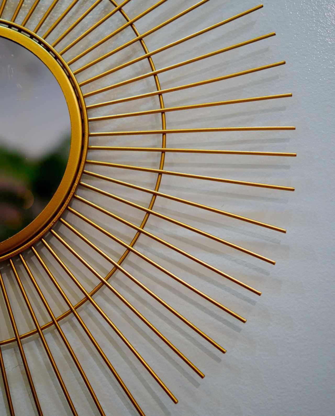 "Mirror Gold Metal ""Sun"" Diameter 50 cm"