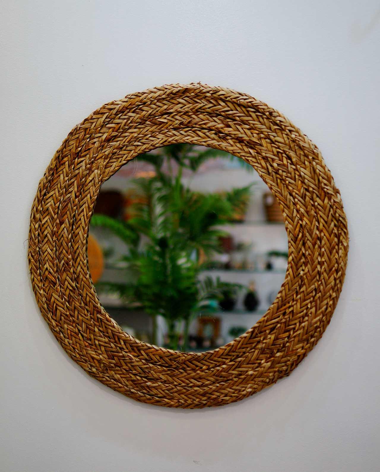 Mirror Round Seagrass Diameter 55 cm