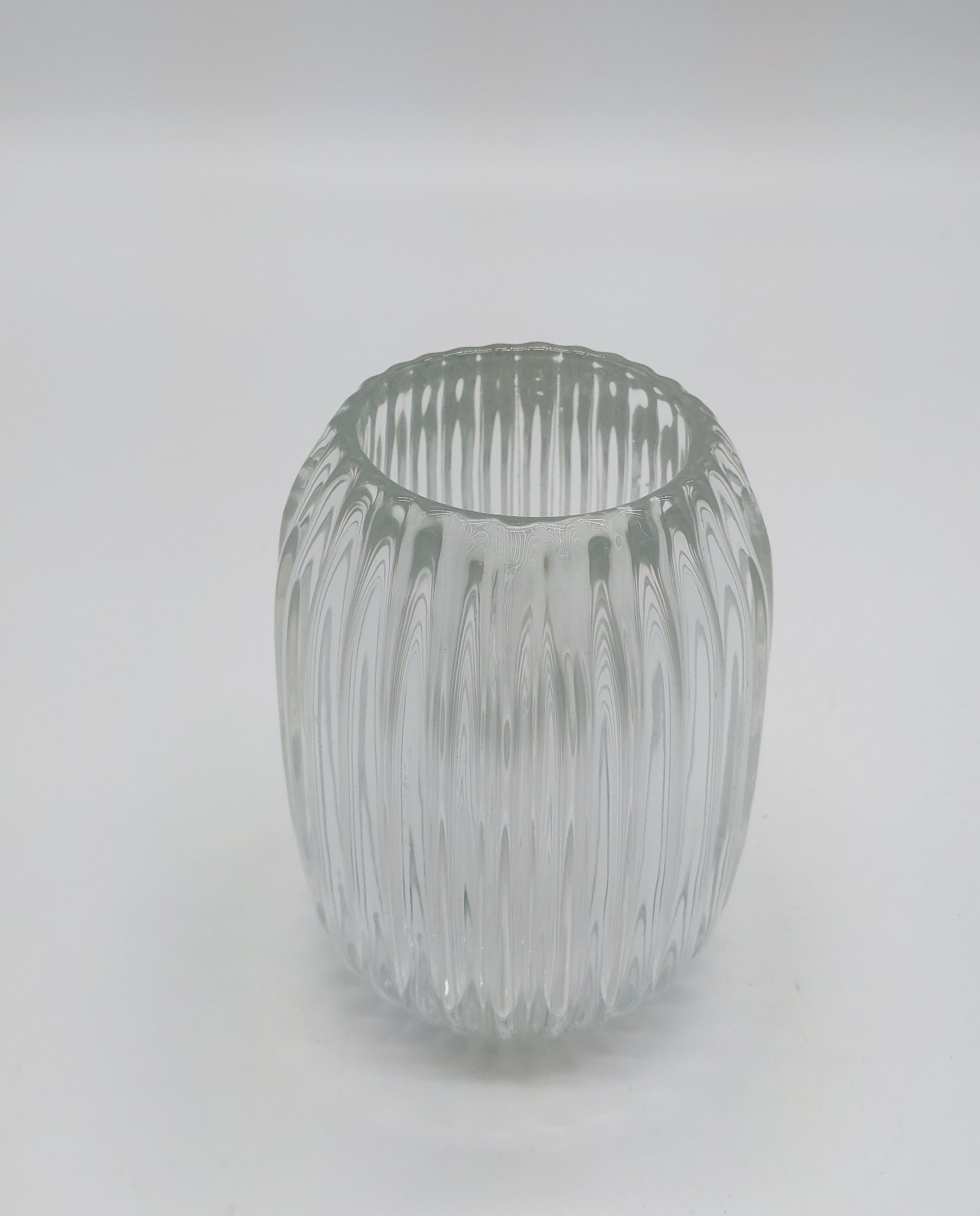 Votive Glass Ribbed Clear Height 13 cm