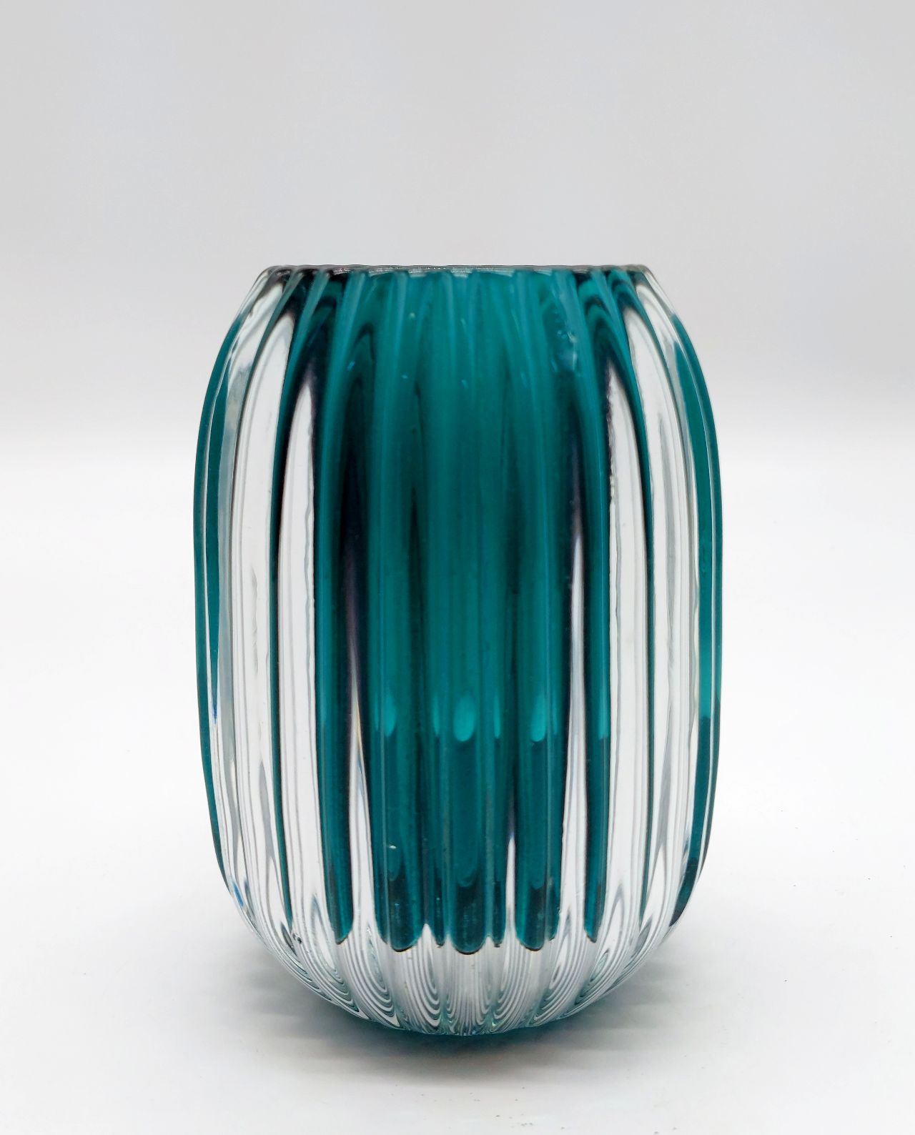 Votive Glass Ribbed Teal Height 13 cm