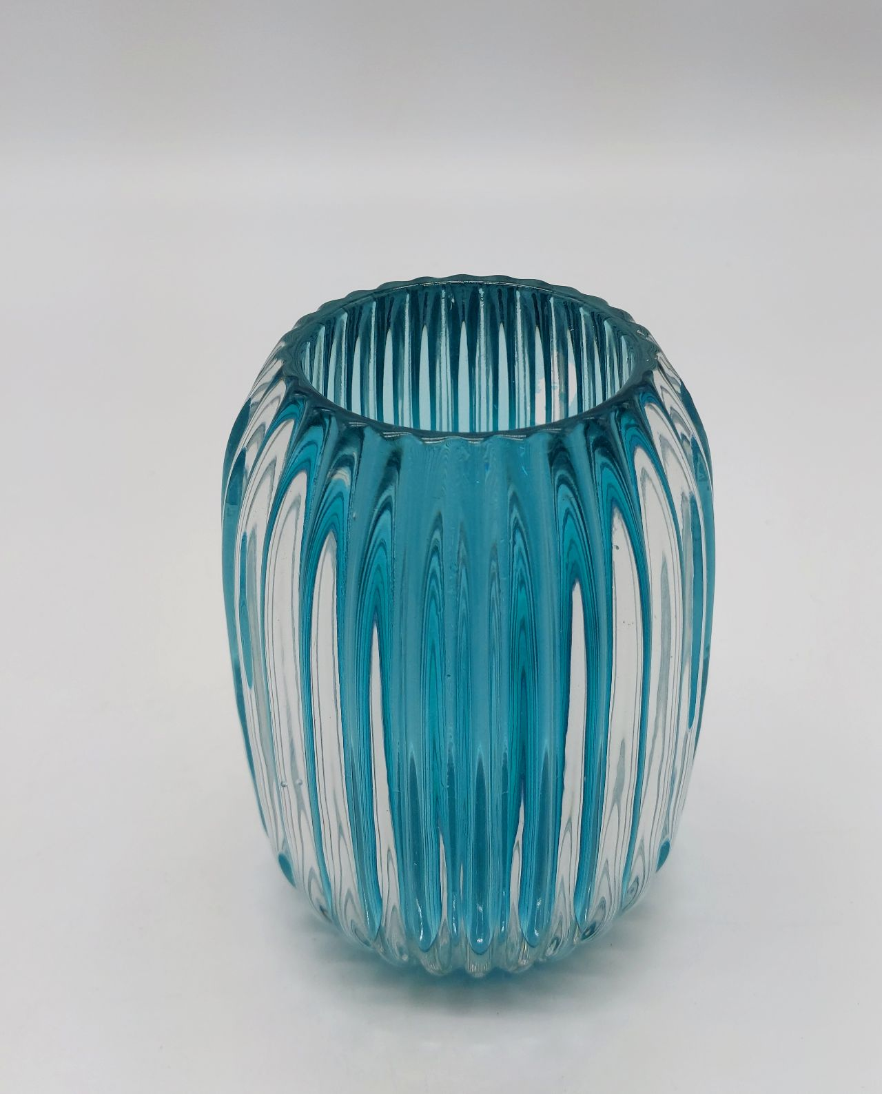 Votive Glass Ribbed Turquoise Height 13 cm