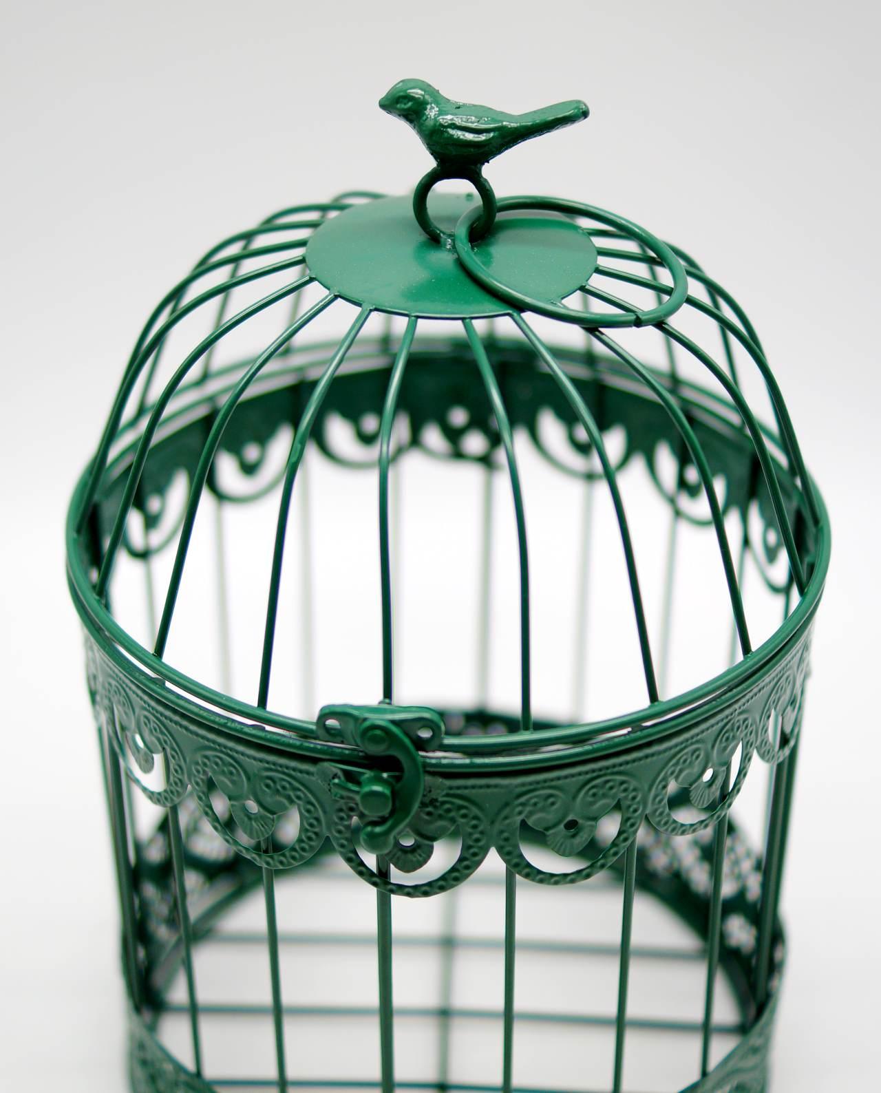 Birdcage Metallic Green Height 30 cm