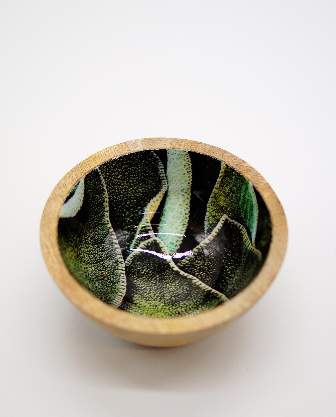Μπωλ ξύλινο από ξύλο Mango ανοιχτόχρωμο καφέ με σχέδιο φύλλων εσωτερικά