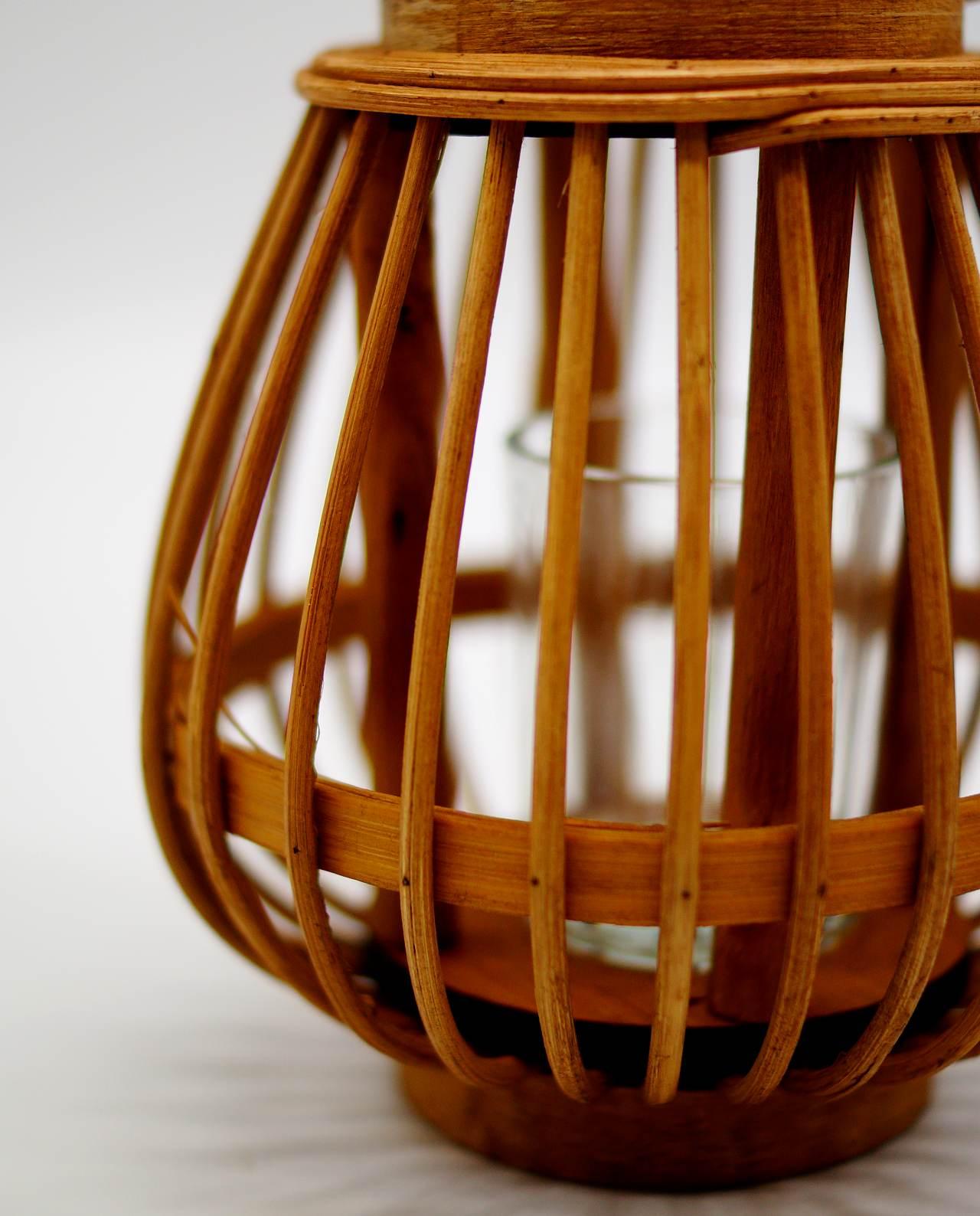 Φανάρι από μπεζ μπαμπού με γυαλί ρεσώ Ύψους 17 cm
