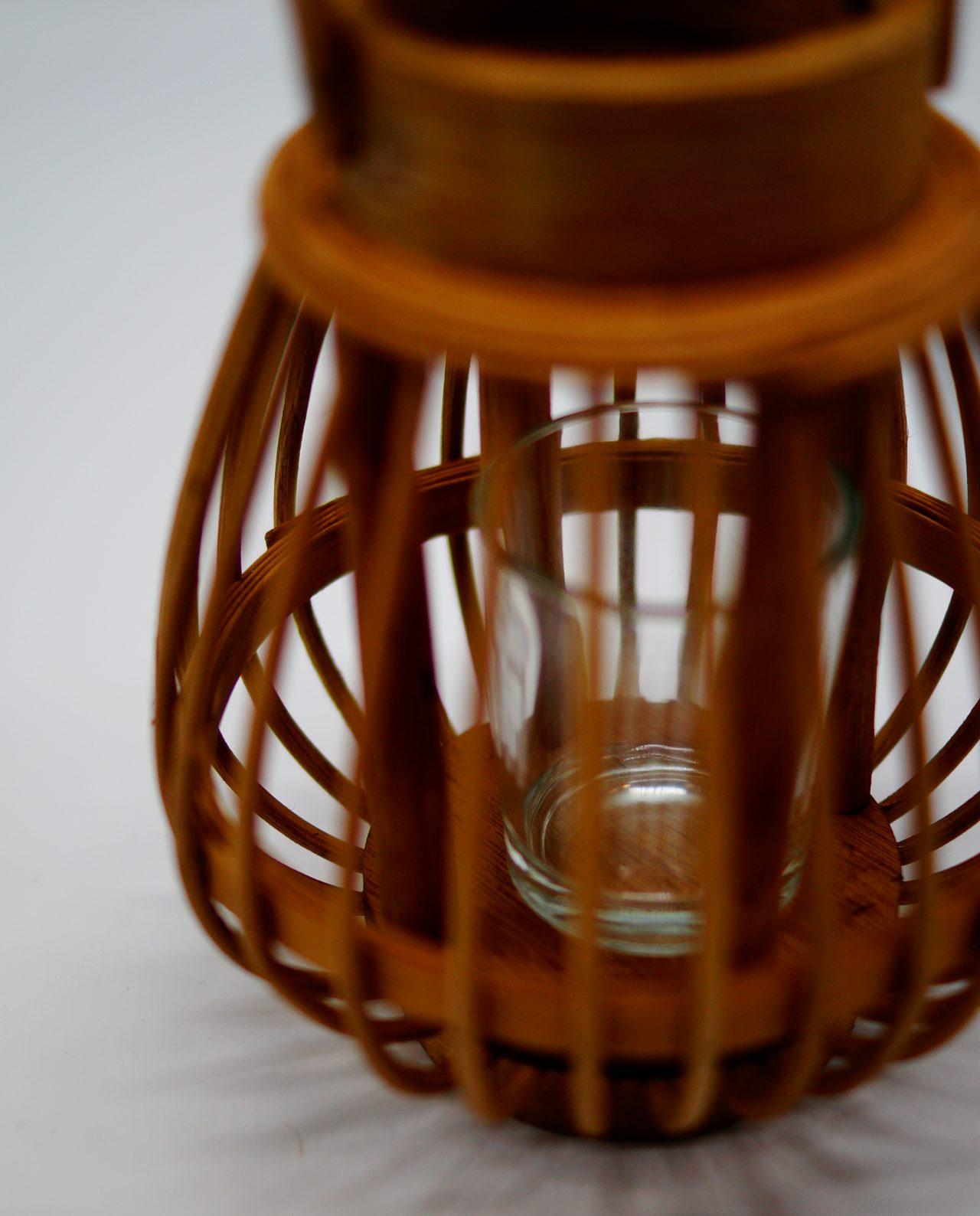 Φανάρι από καφέ μπαμπού με γυαλί ρεσώ Ύψους 17 cm