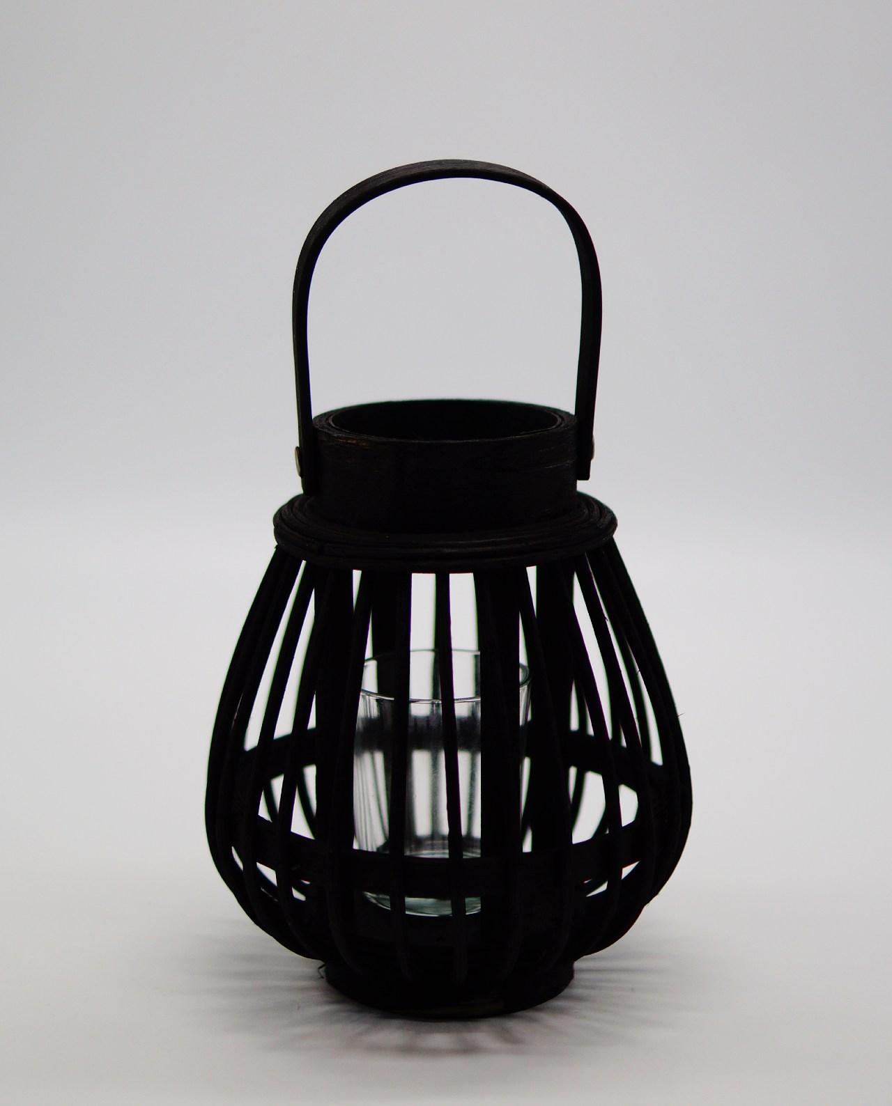 Φανάρι από μαύρο μπαμπού με γυαλί ρεσώ Ύψους 17 cm