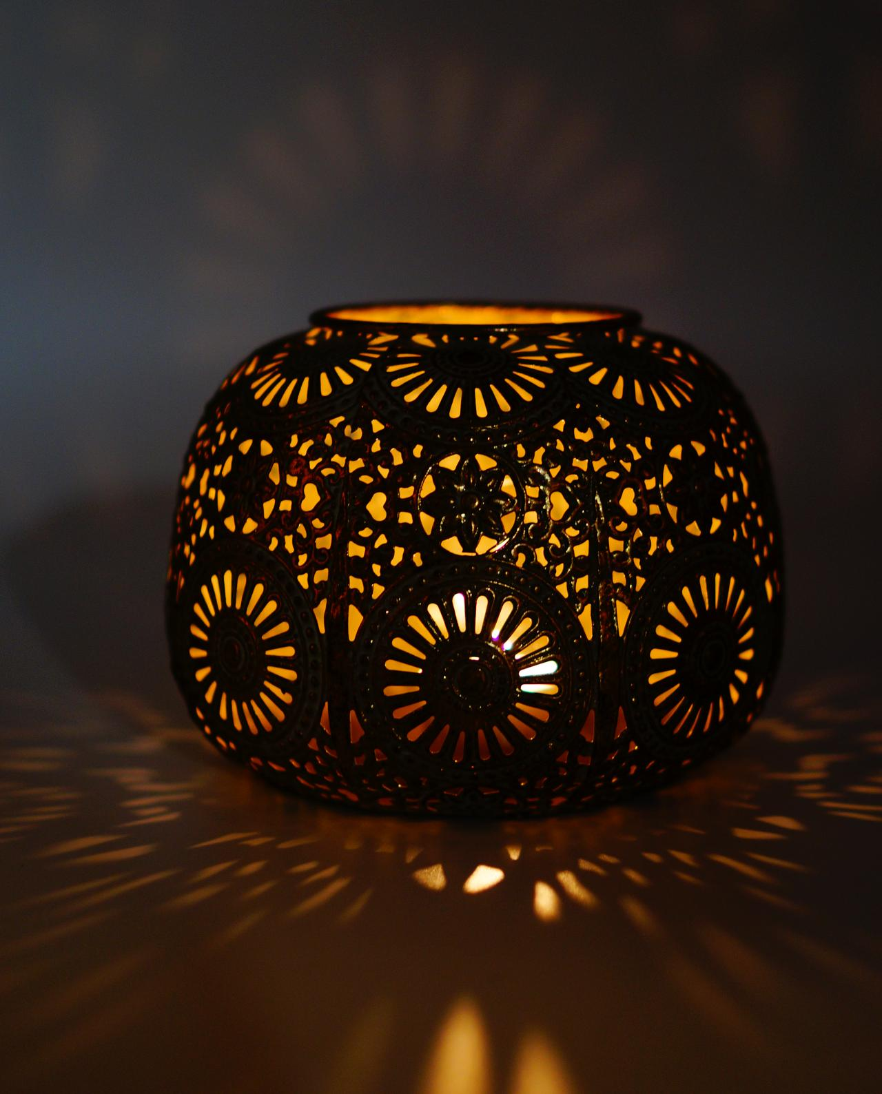 Lantern copper outside with glass tealight