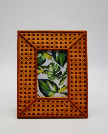 Wooden picture frame with artificial rattan style finishing