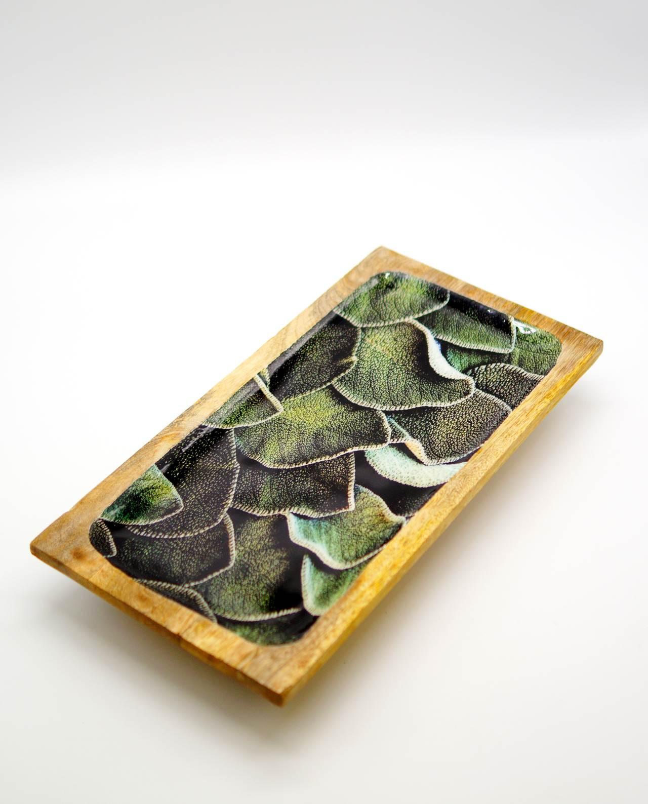 Πιατέλα ξύλινη από ξύλο Mango ανοιχτόχρωμο καφέ με σχέδιο φύλλων εσωτερικά