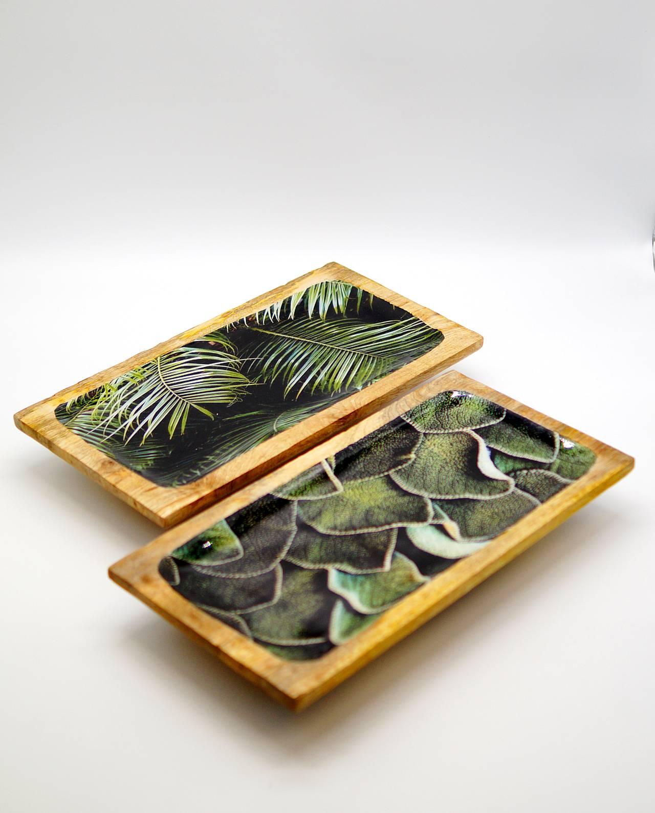 Πιατέλες παραλληλόγραμμες ξύλινες με ζωγραφισμένα φύλλα