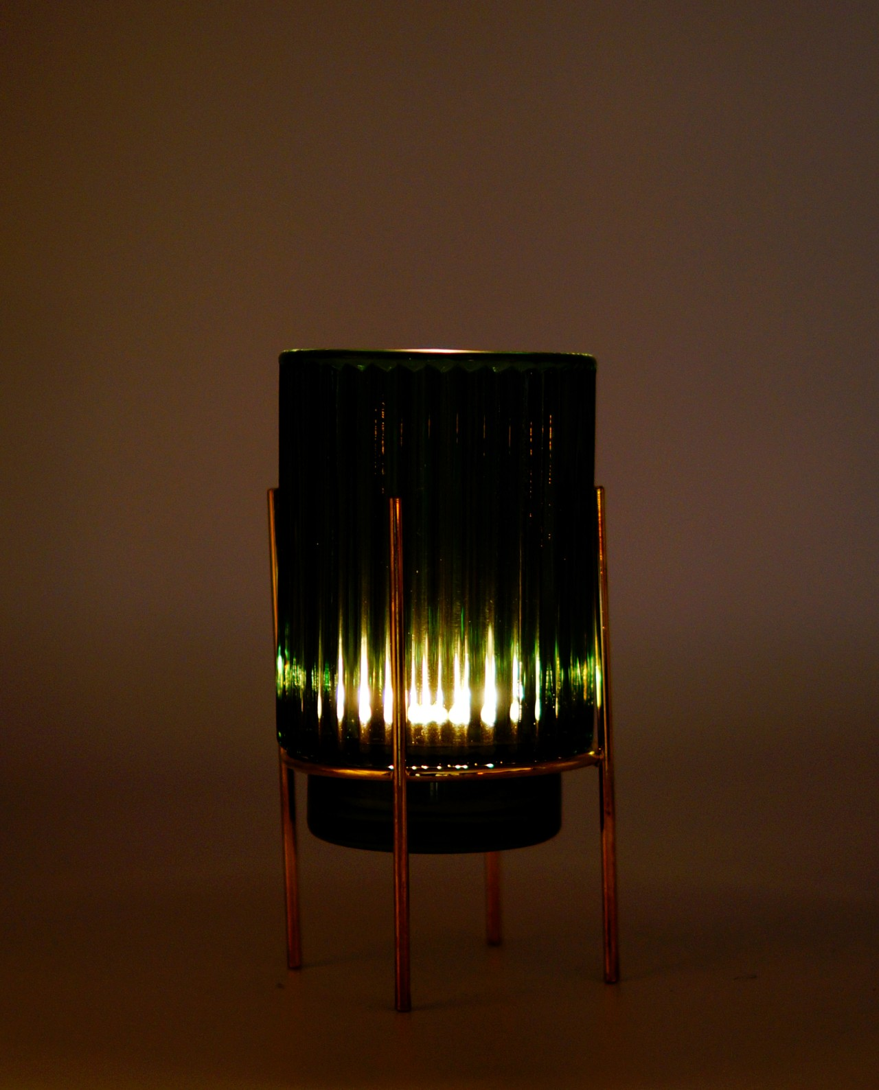 Tealight Green Glass on Metal Stand Lighted