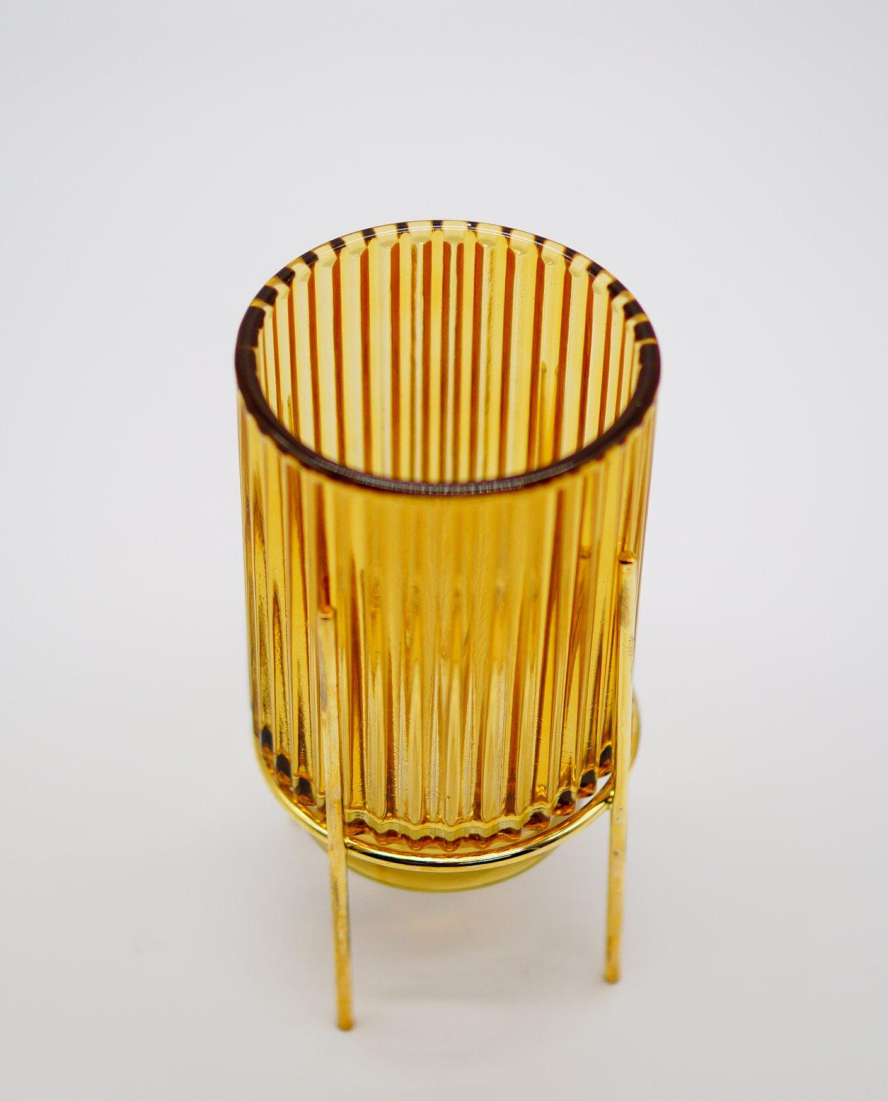Tealight Yellow Glass on Metal Stand