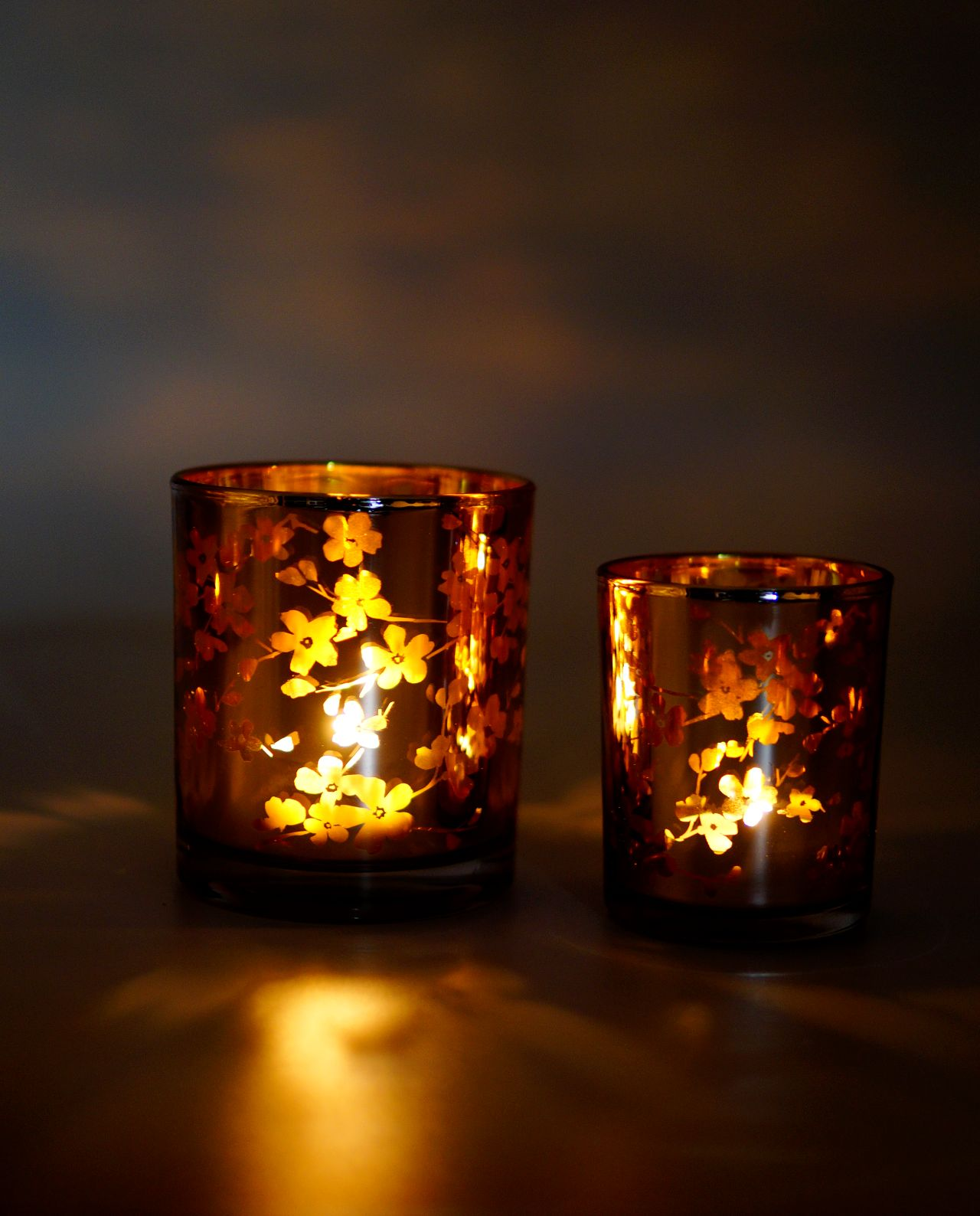 Tealight Votives Lilac Japanese Flowers Set 2 Pieces Lighted
