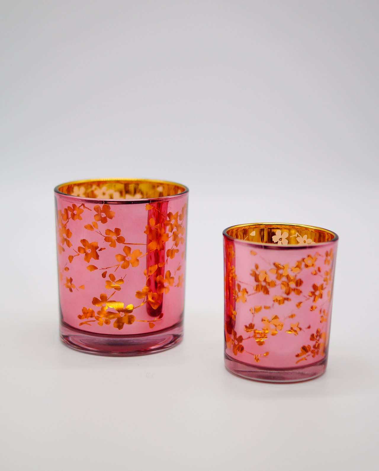 Φαναράκια σετ 2 τεμαχίων γυάλινα ροζ με εσωτερικά χρυσό με Γιαπωνέζικα λουλούδια