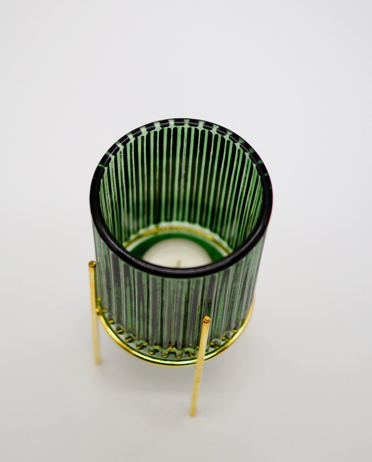 Tealight Green Glass on Metal Stand