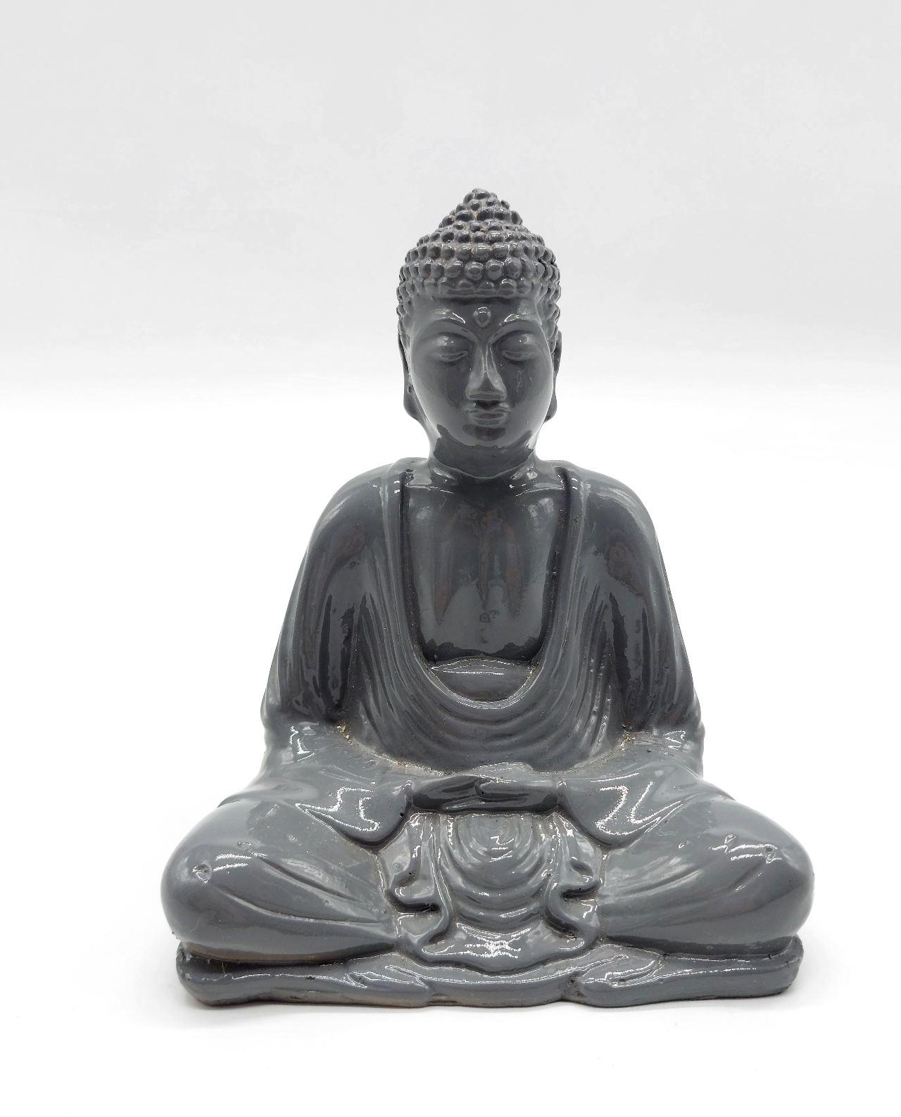Buddha Resin Height 15cm Gray