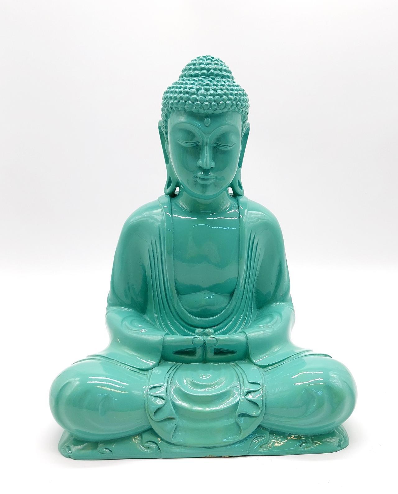 Buddha Resin height 30cm turquoise