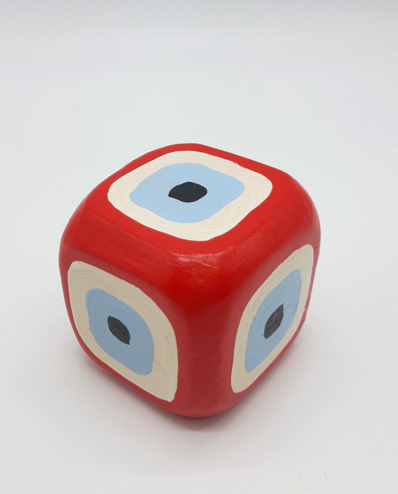 Κύβος Ματάκι Ξύλινος Χειροποίητος 8.5 cm x 8.5 cm x 8.5 cm χρώμα κόκκινος