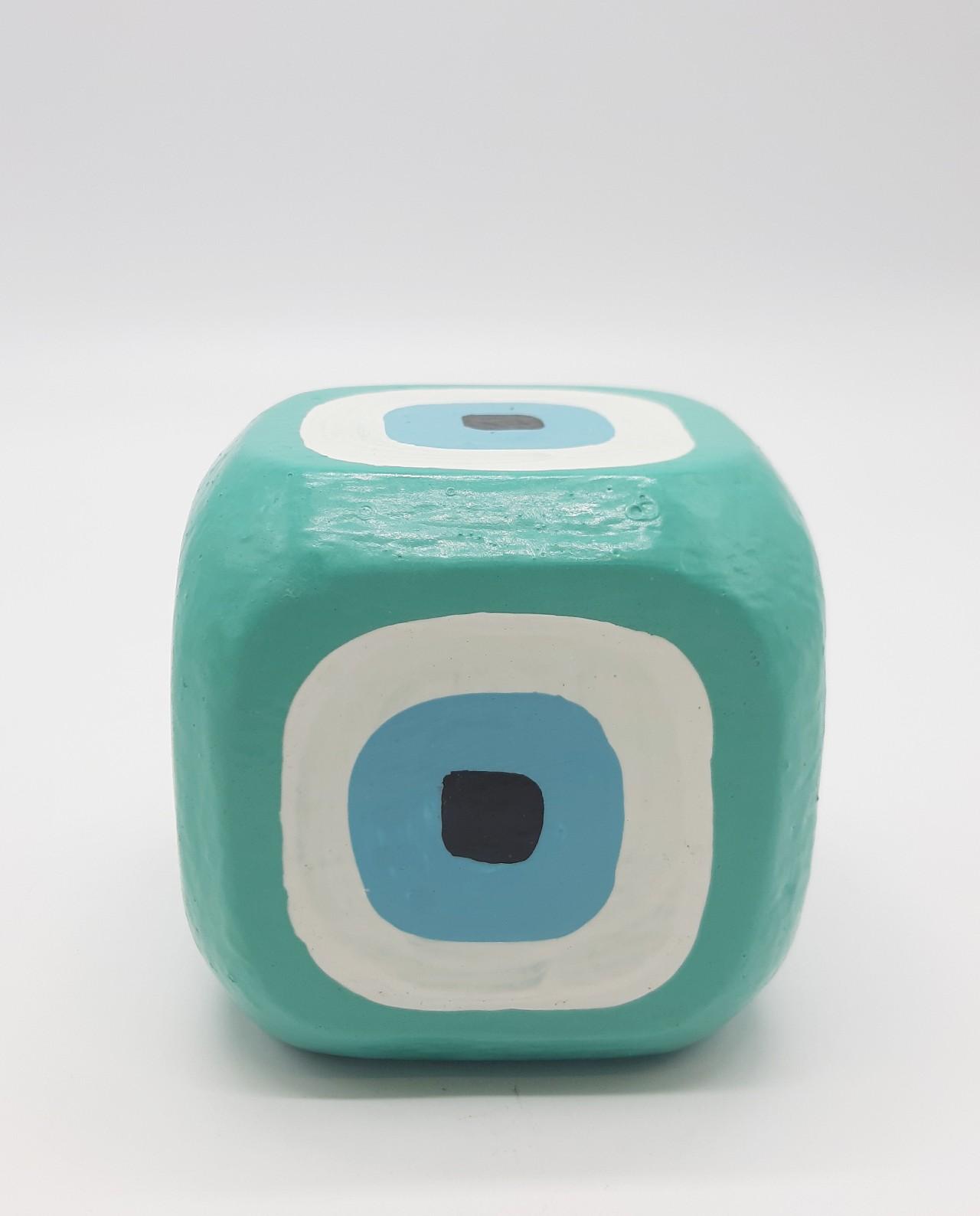 Κύβος Ματάκι Ξύλινος Χειροποίητος 8.5 cm x 8.5 cm x 8.5 cm χρώμα μπλε