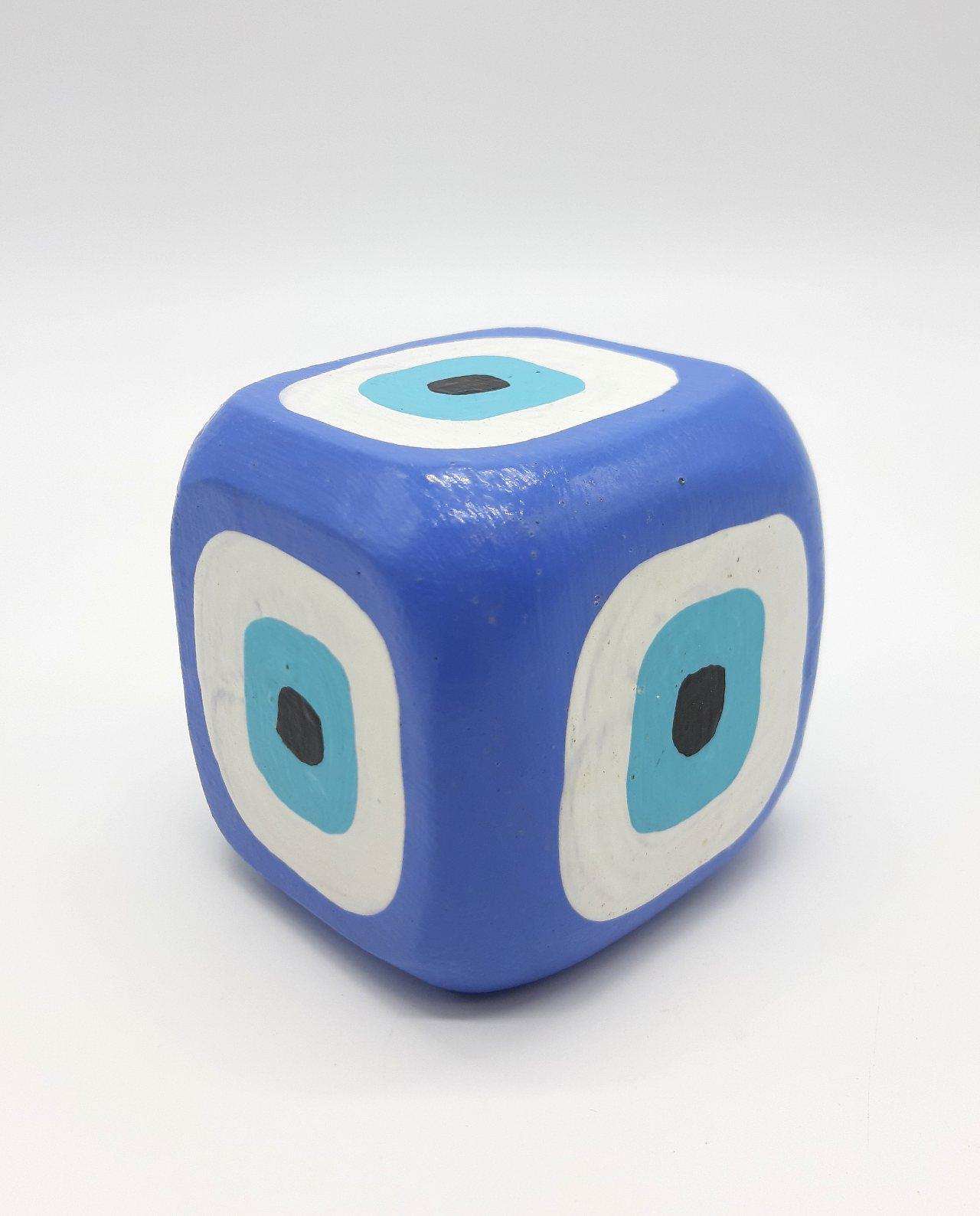 Κύβος Ματάκι Ξύλινος Χειροποίητος 8.5 cm x 8.5 cm x 8.5 cm χρώμα λουλακί