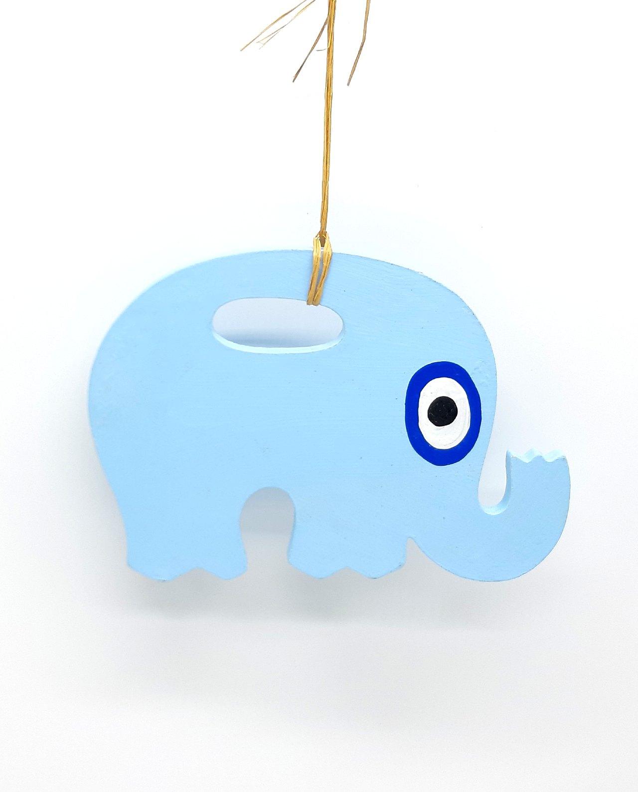 Elephant Evil Eye Wooden Handmade Length 18 cm color baby blue