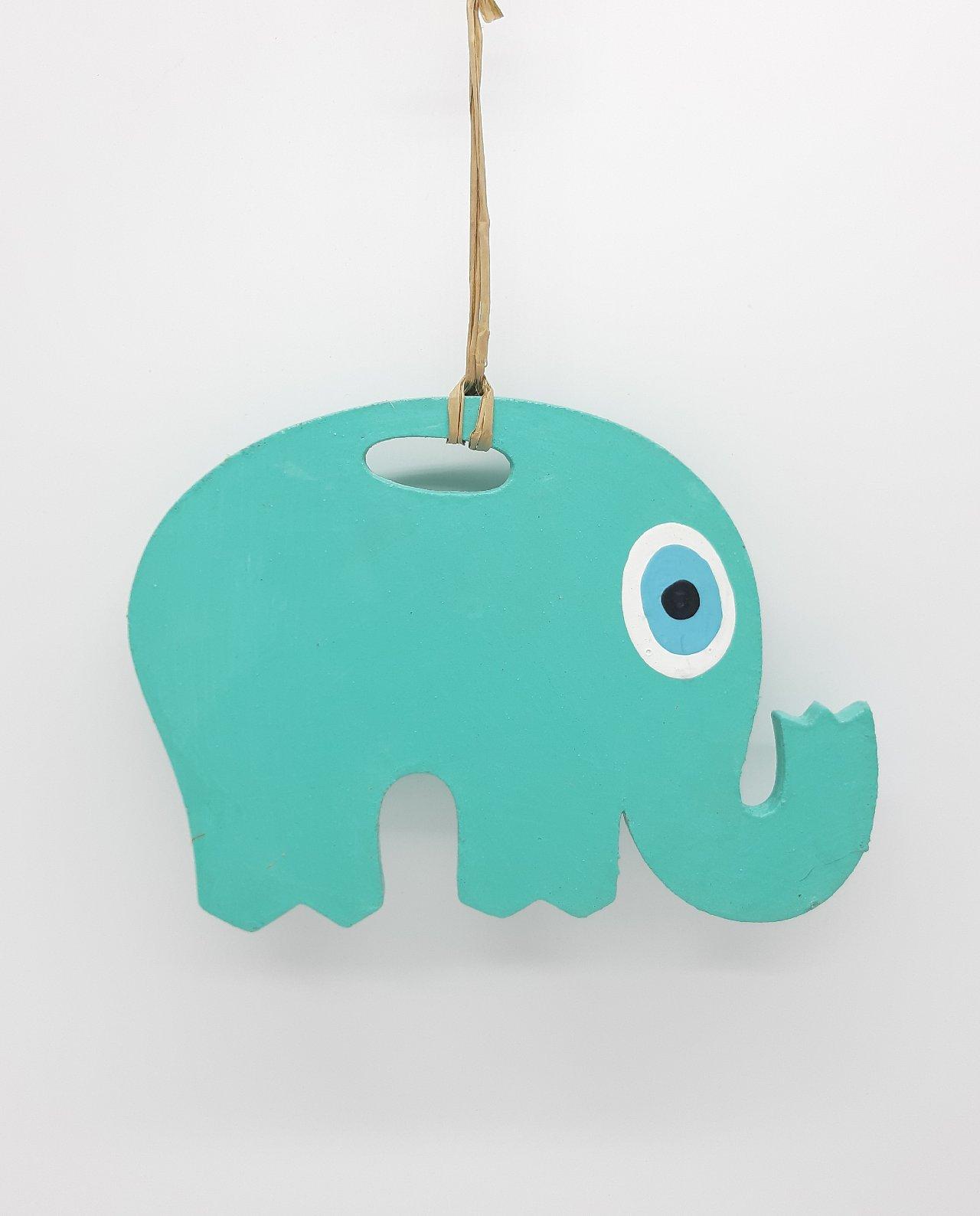 Elephant Evil Eye Wooden Handmade Length 18 cm color turquoise