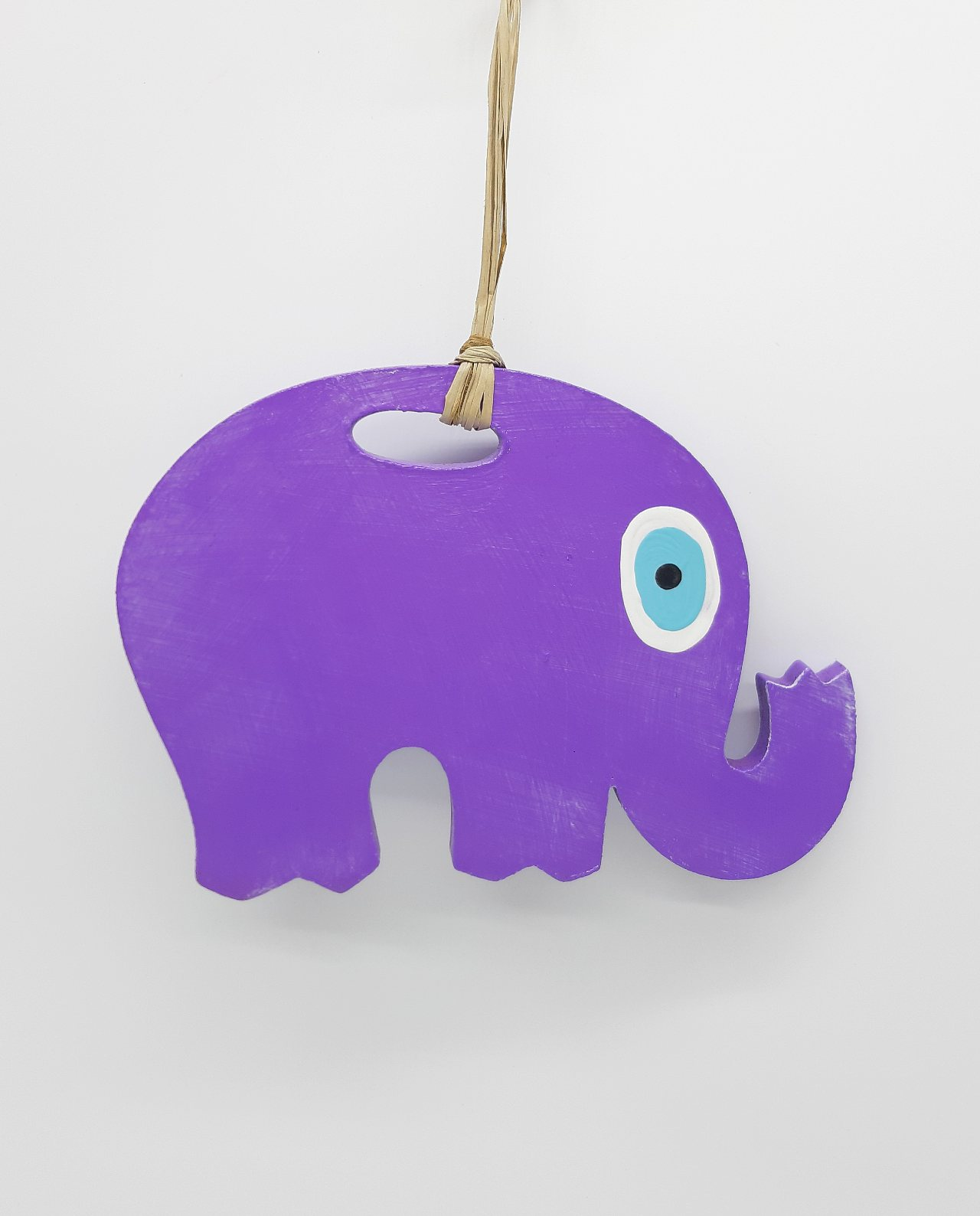Elephant Evil Eye Wooden Handmade Length 18 cm color purple