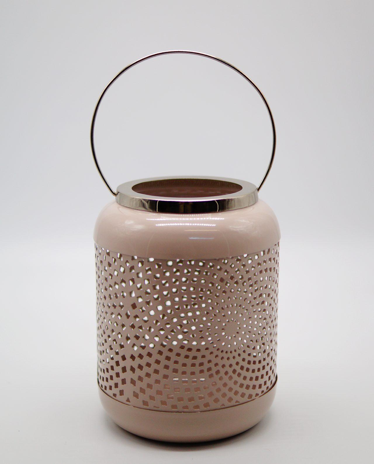 Lantern Metal Pink Pastel Color Height 19.50 cm