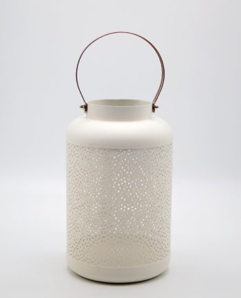 Lantern made of metal in white color height 24 cm diameter 15 cm