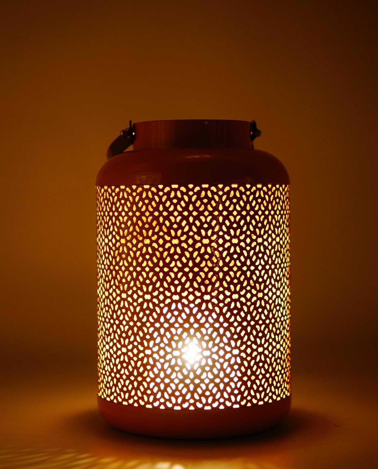 Lantern made of metal in salmon color height 24 cm, diameter 15 cm