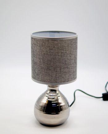 Table Lamp Grey Silver Ceramic Base