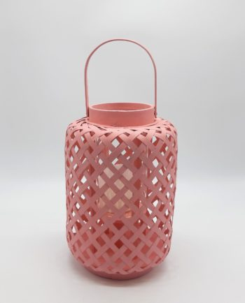 Lantern made of bamboo with glass included, in light pink color height 30cm